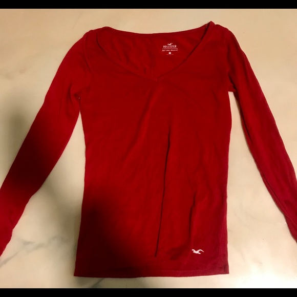 Hollister Tops - Red long sleeve Hollister blouse